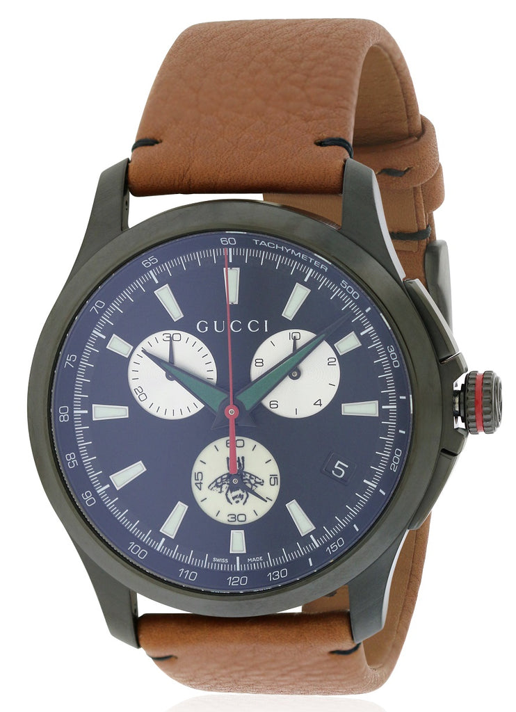 Gucci G-Timeless Leather Chronograph Mens Watch
