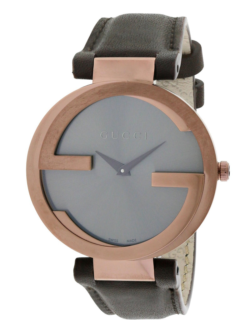 Gucci Interlocking Brown Leather Ladies Watch