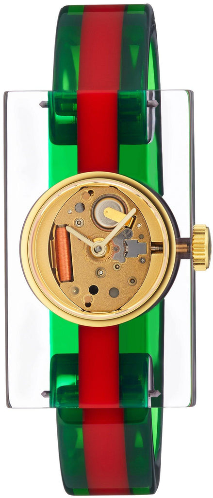 Gucci Plexiglas Red and Green Ladies Watch