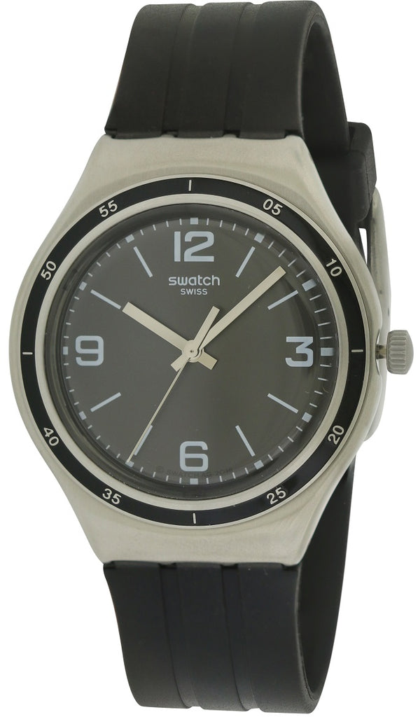 Swatch SHINY BLACK Rubber Mens Watch