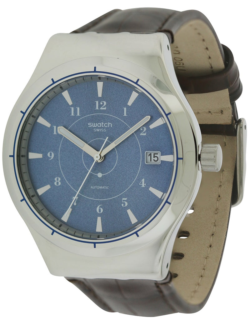 Swatch SISTEM FLY Leather Automatic Mens Watch