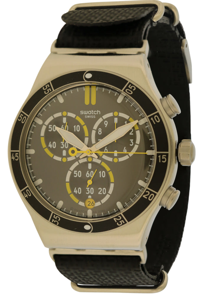 Swatch ORANGE TEETH Chronograph Leather Mens Watch