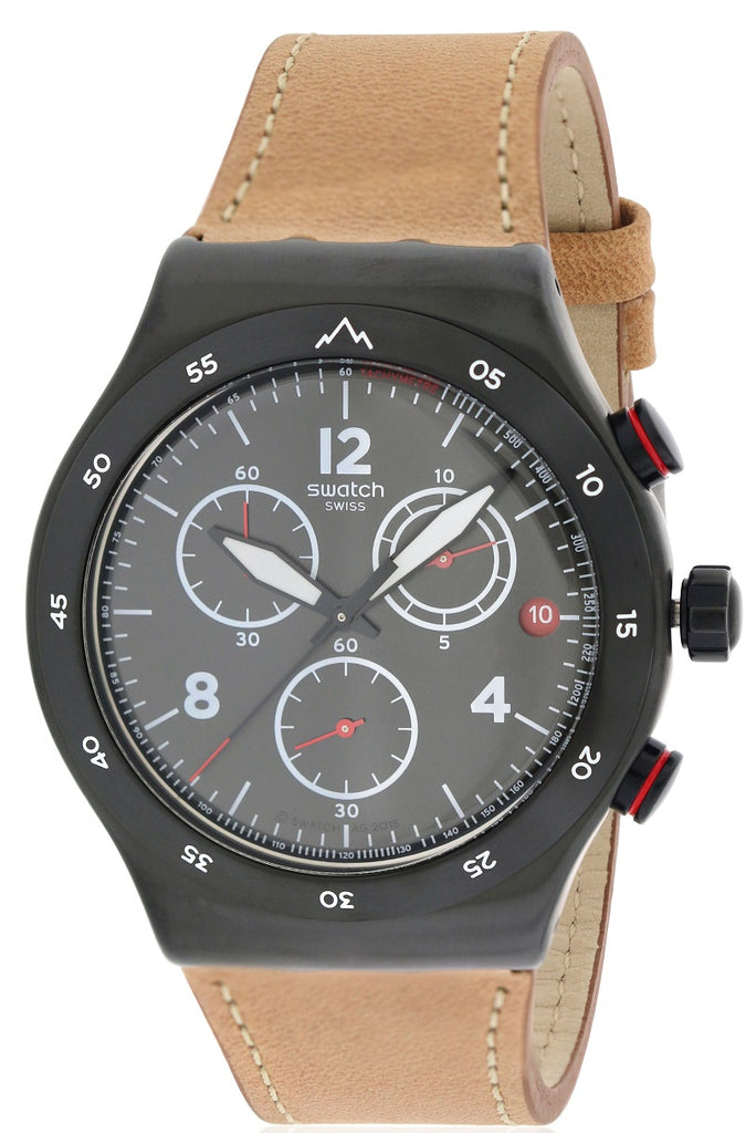 Swatch THE JOURNEY IS THE REWARD Leather Chronograph Mens Watch