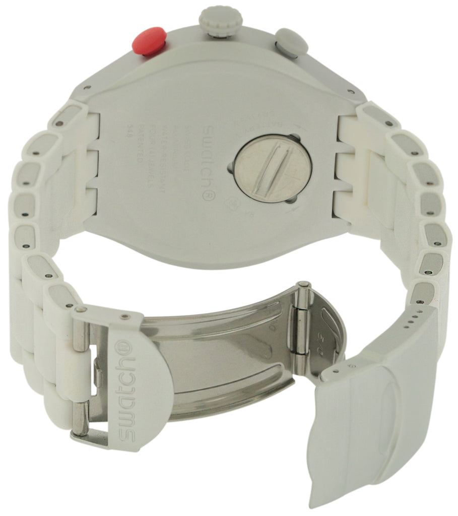 Swatch WHITE ATTACK Aluminium Chronograph Mens Watch