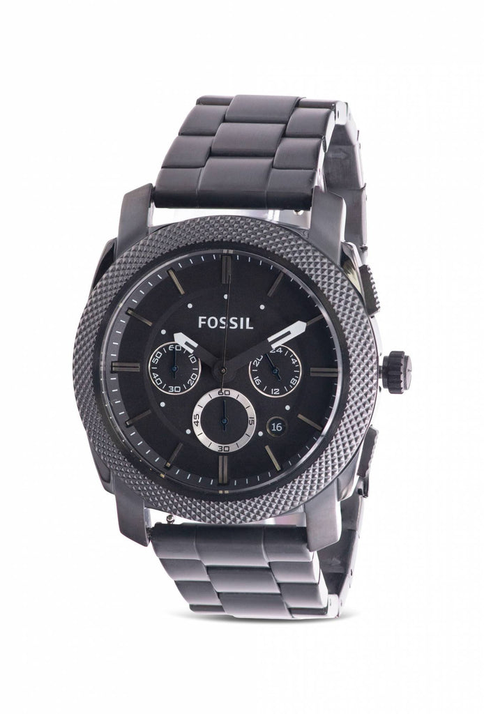 Fossil Machine Chronograph Black Stainless Steel Mens Watch