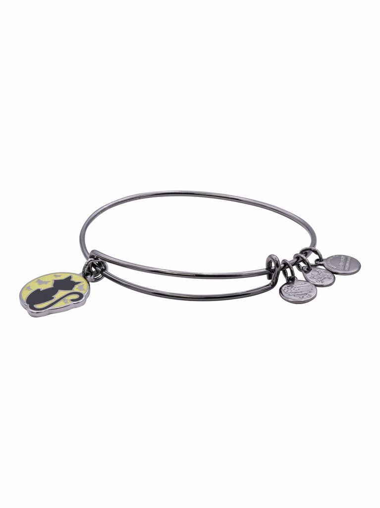 Alex And Ani Black Cat Glow in the Dark Charm Bangle Midnight Silver -
