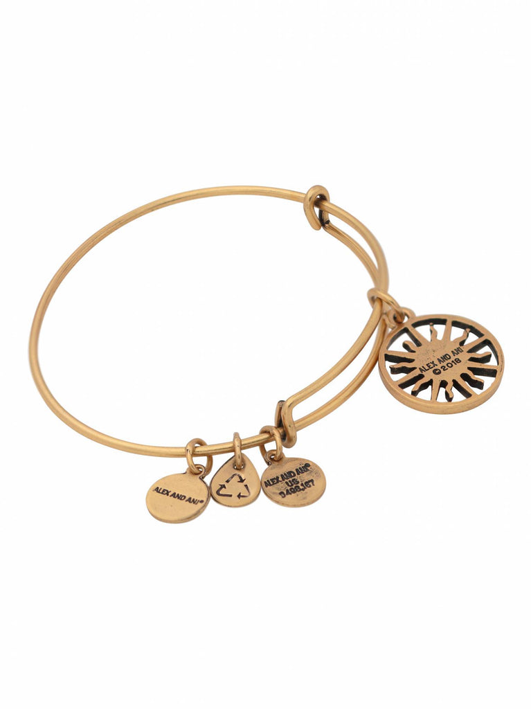 Alex and Ani Rising Sun Charm Bangle Bracelet - Rafaelian Gold - Expandable -