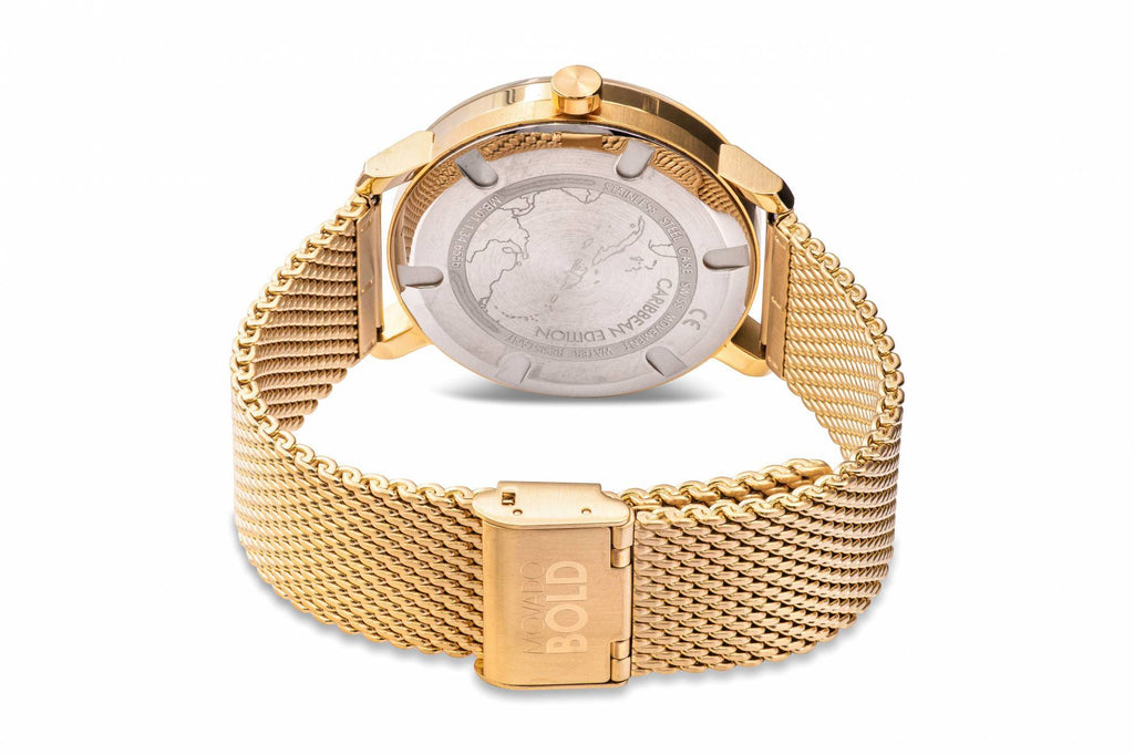 Movado Bold Gold-Tone Mesh Mens Watch