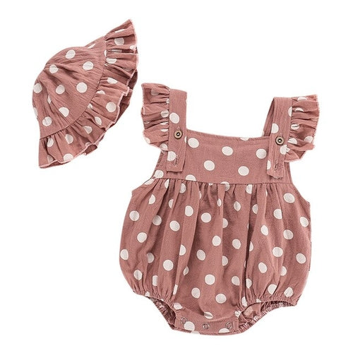 Polka Dotted Onesie and Bonnet Set