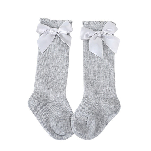 Girls Big Bow Knee Socks