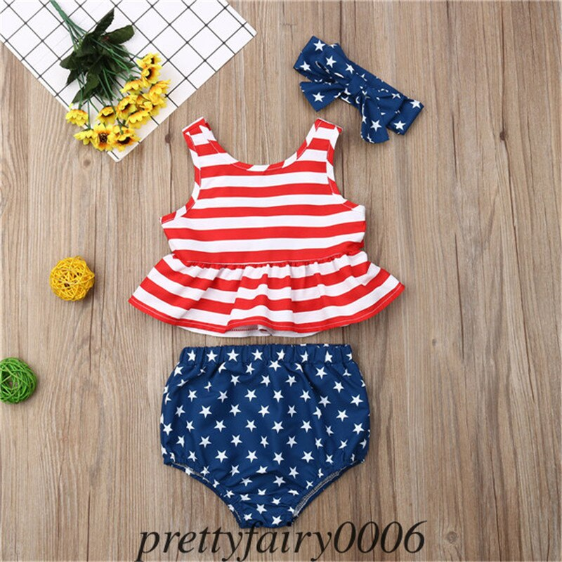 Striped 4th of July Baby Boy Girl USA Flag Shirt