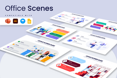 Office Scene Infographics for PowerPoint, Keynote, Google Slides and Illustrator