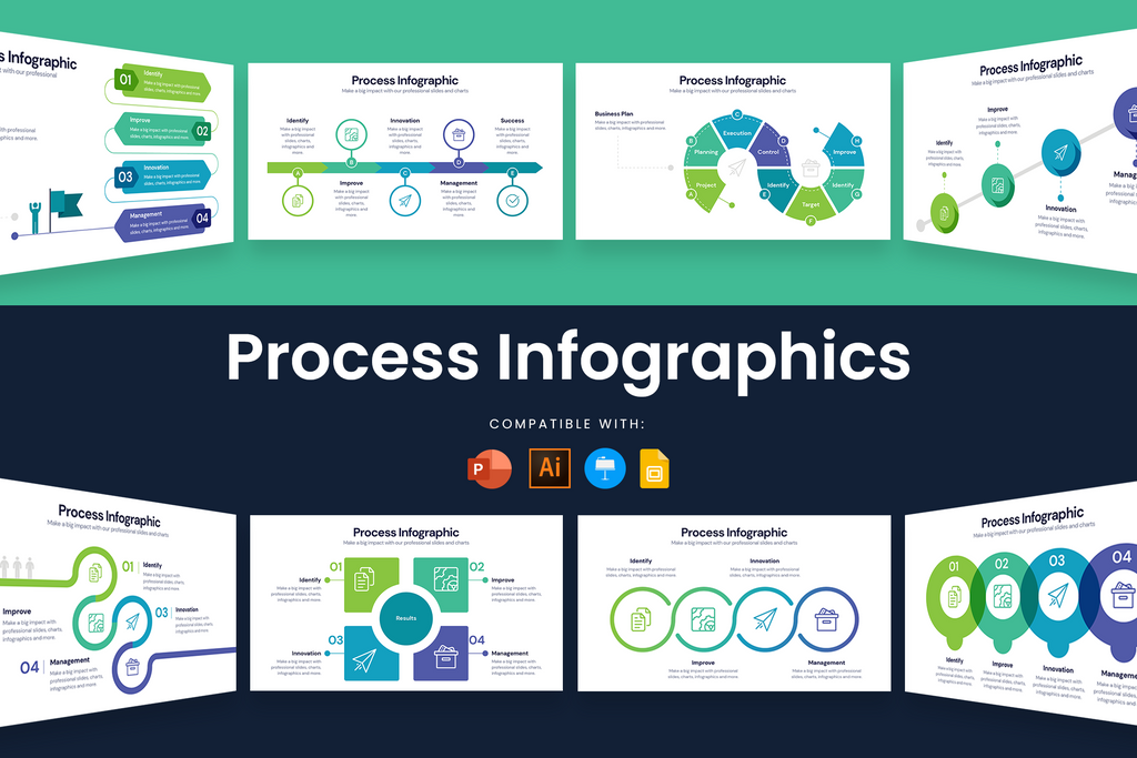 Process Infographic Templates for Illustrator, Powerpoint, Keynote and Google Slides