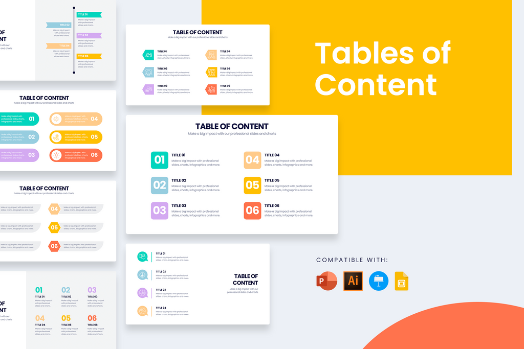 Table of content Slides for PowerPoint, Keynote, Google Slides and Illustrator