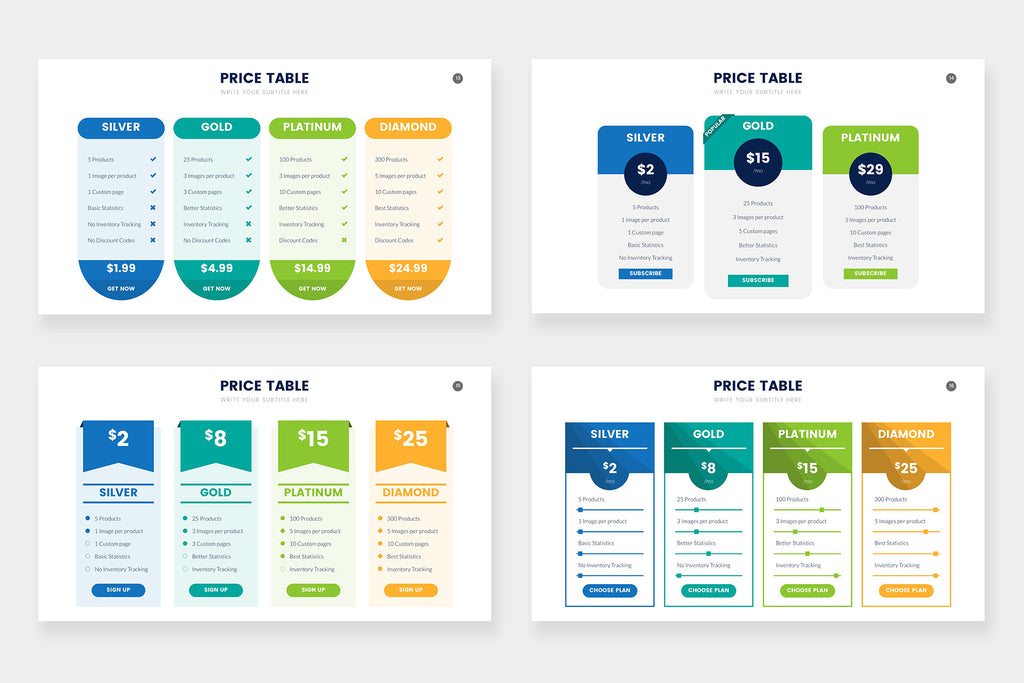 Pricing Table Infographics