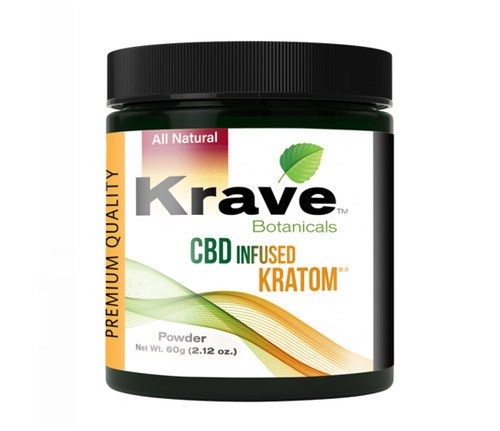 KRAVE BOTANICALS CBD INFUSED KRATOM POWDER - 60g