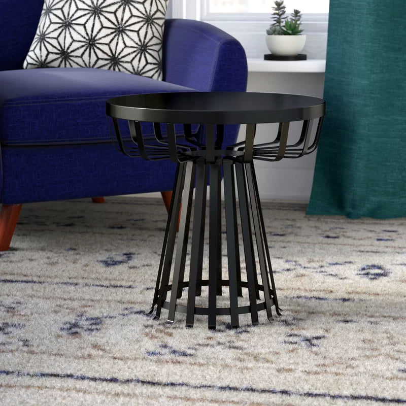 Metal Side Table Flat Iron Base