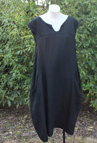Black Linen Dress with V design on Front
