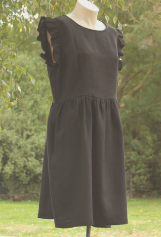 Frill Sleeve Linen Dress - OffOn Clothing
