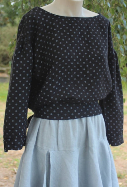 long sleeved linen top with small white spot design - Black