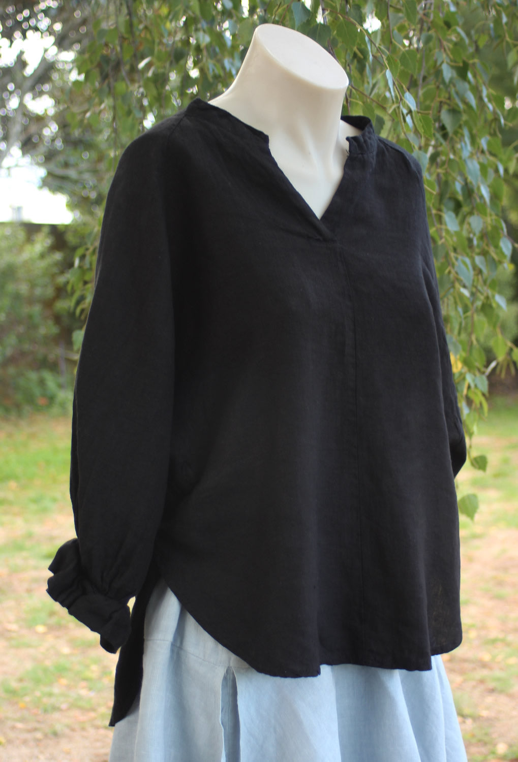 Black 100% Linen Prospect Shirt Mist Valley Clothing