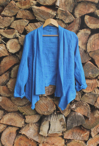 Short Linen Jacket Colbalt Blue