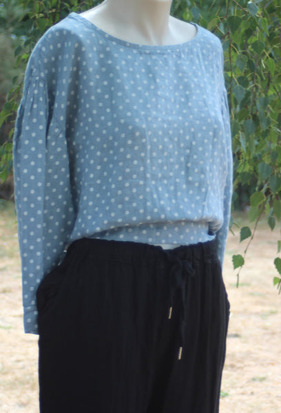 long sleeved linen top with small white spot design - Denim Blue