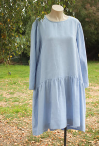 Linen Dress in Blue. Hand Made in Lithuania