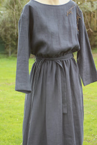 Charcoal Linen Dress OffOn Clothing made in Lithuania