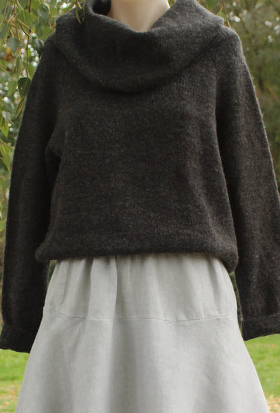 cowl neck jersey mist valley clothing in charcoal