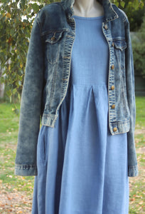 Short Sleeved Linen Dress Denim Blue with Denim Jacket