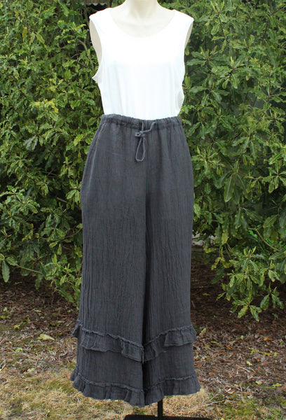 Wide Linen Pants in Charcoal with a white top