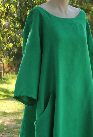 Emerald Green Long European Linen Dress Mist Valley Clothing