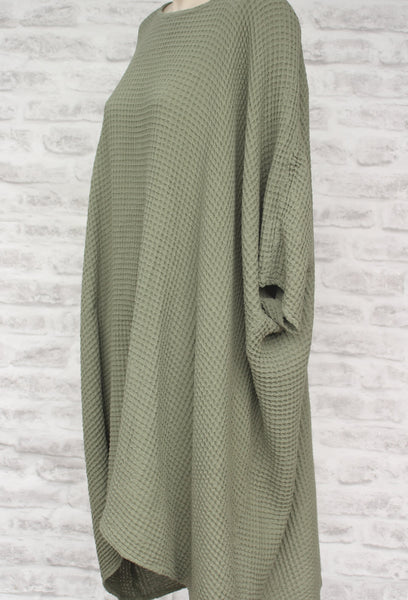 Green Tunic in 100% Waffle Cotton