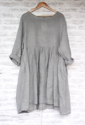 Long Sleeved Linen Dress in Grey