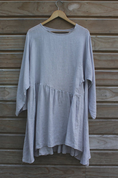 Grey Loose Linen Dress Long Sleeves