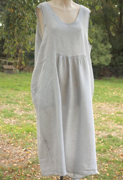 Grey Sleevless Linen Dress - Mist Valley Clothing