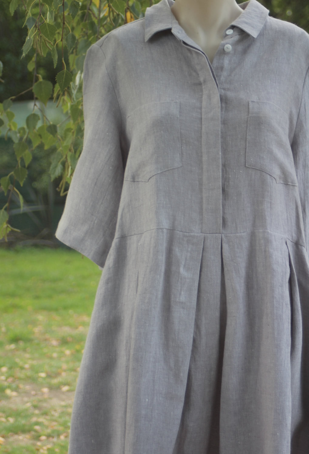 Shirt Collar Linen Dress - OffOn Clothing