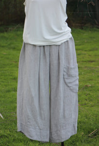 Grey Linen Cropped Pants