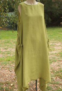 Lime Longlinen Linen Dress - Mist Valley Clothing