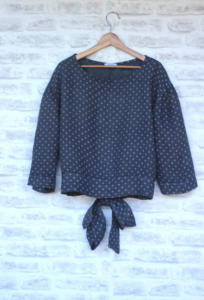 long sleeved linen top with small white spot design -Navy