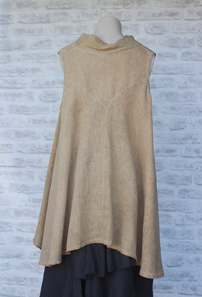 Cowl Neck Sleeveless long Linen Top in Nutmeg Brown Back View