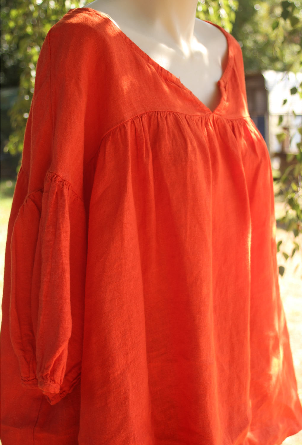 Orange Linen Top with 3/4 Sleeves and v neck