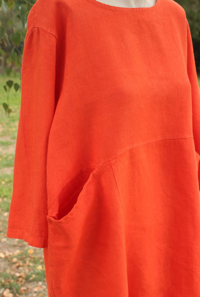 Close up Orange 3/4 sleeved Linen Tunic