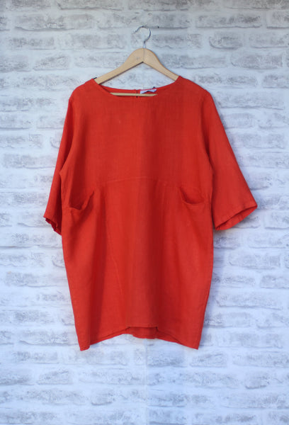 Orange Linen 3/4 Sleeved Tunic Mist Valley Clothing