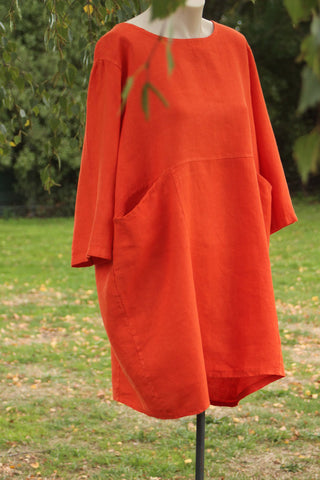 Orange Linen 3 /4 Sleeved Tunic Mist Valley Clothing