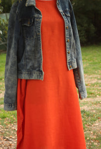 Orange Longlinen Linen Dress - Mist Valley Clothing