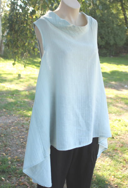 Cowl Neck Sleeveless long Linen Top in Grey