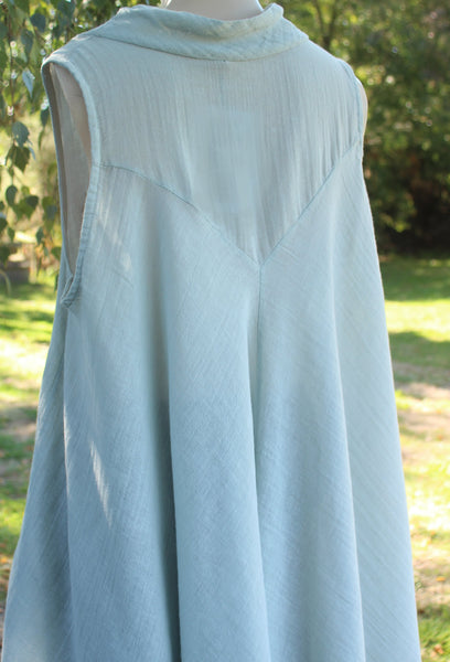 Cowl Neck Sleeveless long Linen Top in Grey from Mist Valley Clothing