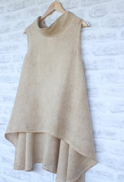 Cowl Neck Sleeveless long Linen Top in Nutmeg Brown